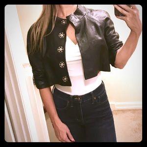 Bebe cropped black leather jacket